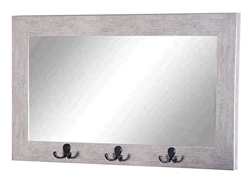 Silver Black Grain Pub Wall Mirror with Utility Hooks
