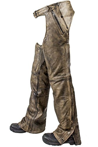 (Men's Motorcycle Riding Biker 4 Pocket Distressed BRN Leather chap Pant W/Liner (XL Regular))