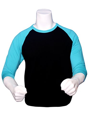 eff862eb8 ILTEX Raglan Tshirt 3/4 Sleeve Athletic Baseball Jersey Unisex  (Black/Tiffany,