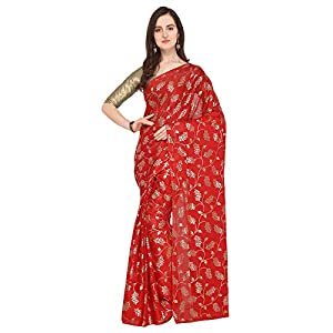Ishin Poly Georgette Red Foil Printed Women's Saree