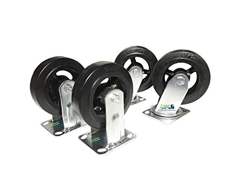 4-Pack of 6'' H.D. Rubber Wheel Casters (2 Swivel and 2 Fixed) by EZ Travel Collection