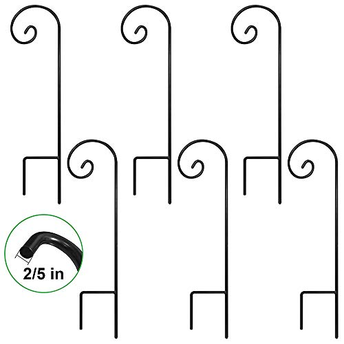 BEAU JARDIN Set of 6 Garden Shepherd Hooks 35in Tall Poles and Hangers for Outdoor Wedding Décor Outside Metal Plants Hanger Stand Pathway Hanging Basket Solar Light Lantern Wind Chimes 2/5in]()