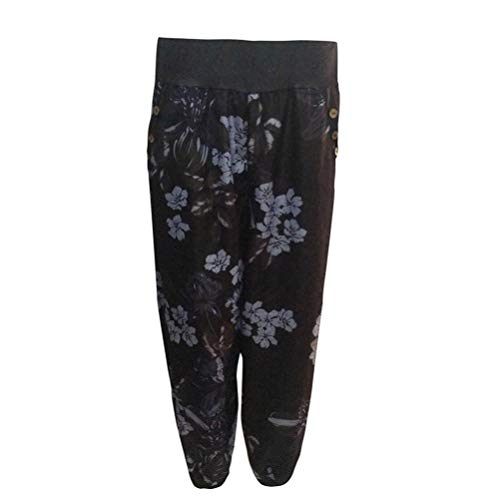 Yoga Impreso de Pantalones Fitness ASHOP Pantalón Vaqueros de de de Boho Cordón Mujer de Alta botón Ancha Pierna Ocio Pantalones Jeans de de Cintura Negro Estilo Suelto Harem Cintura Leggings Bolsillo Uxw4FgEqnE