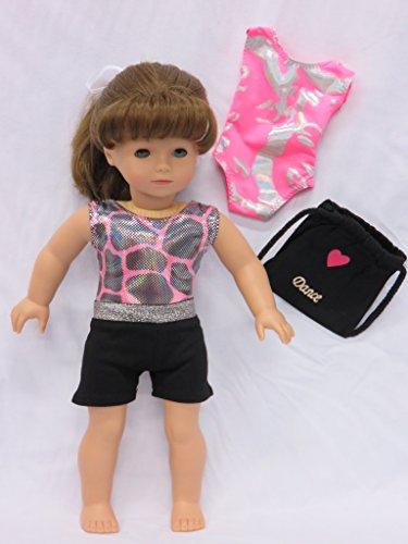 Leotards and Short Set (Dance/Gymnastics) Doll Clothes w/ Dance bag + - Fits American Girl Doll