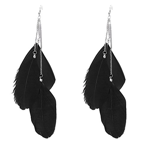 Women Fashion, Mother's Day Jewelry Angel Metal Wing Bohemian Handmade Vintage Feather Long Drop Earring ()