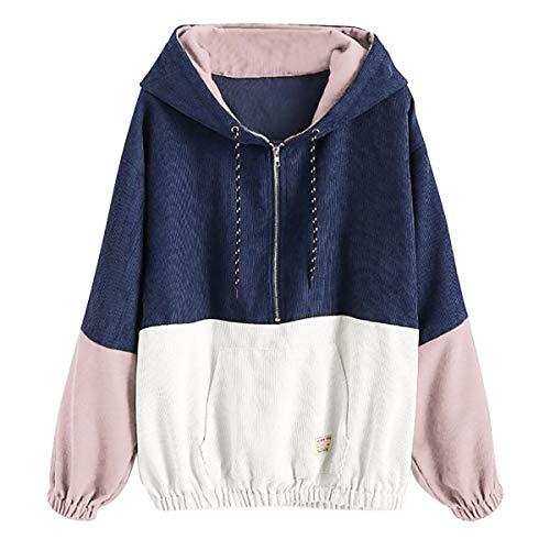 [해외]Thenxin Women Casual Loose Hoodies Sweatshirt Color Block Patchwork Zip-Up Pullover with Pockets / Thenxin Women Casual Loose Hoodies Sweatshirt Color Block Patchwork Zip-Up Pullover with Pockets(Navy,XL)