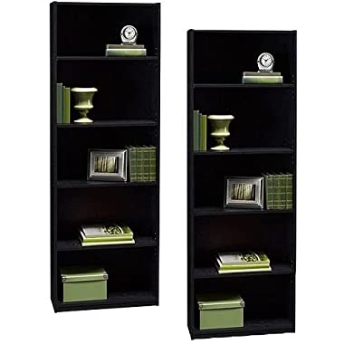 Ameriwood Set of 2 (Bundle) 5-shelf Bookcases. Choice of White, Black, Espresso, Ruby Red and Alder. Adjustable Shelves, Decorative and Contemporary. Harmonizes Well with Most Decor Styles. Use in Living Room, Family Room, Home Office, Work Office, or Any Room. (Black)