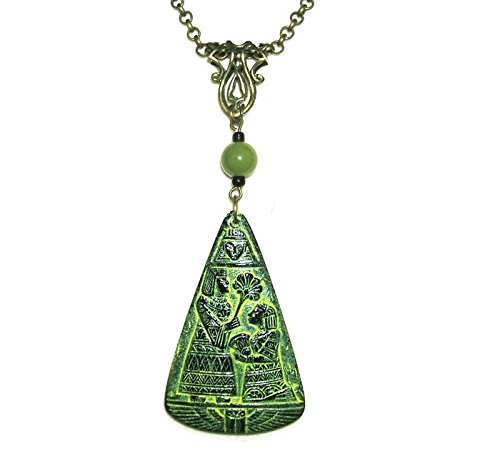Art Deco Figural - EGYPTIAN REVIVAL Necklace Pressed CZECH GLASS FIGURALS Pendant Art Deco