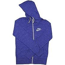 Nike Women's Gym Vintage Full Zip Hoodie (Large, Blue)