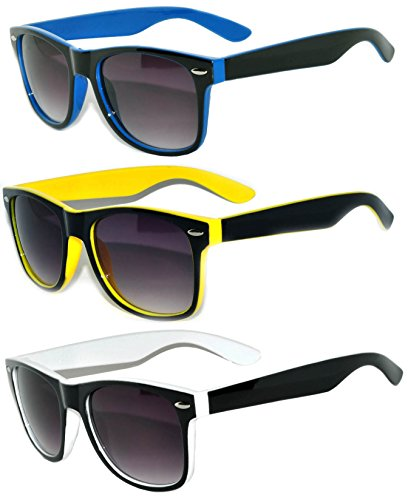 Classic Vintage Two-Tone Sunglasses 3 Pairs – Yellow, - Blue Framed Glasses