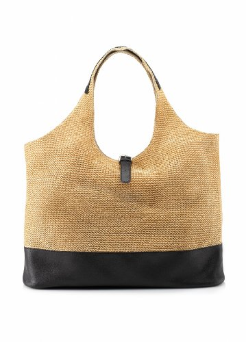 Ashley Stewart Women's Plus Size Straw Hobo Cool Bisque, Bags Central