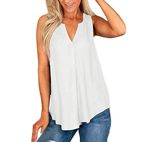 Witspace Women Plus Size Fashion Sleeveless T-Shirt Summer V-Neck Chiffon Tops