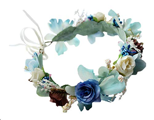Vivivalue Boho Flower Headband Women Floral Crown Hair Wreath Flower Headpiece Halo with Ribbon Wedding Party Festival Photos Blue