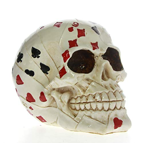 Poker Figurine - XOBULLO Skull Gambler Playing Cards Figurine Statue Poker Face Tattoo Skeleton Ace Cards Horror Decoration