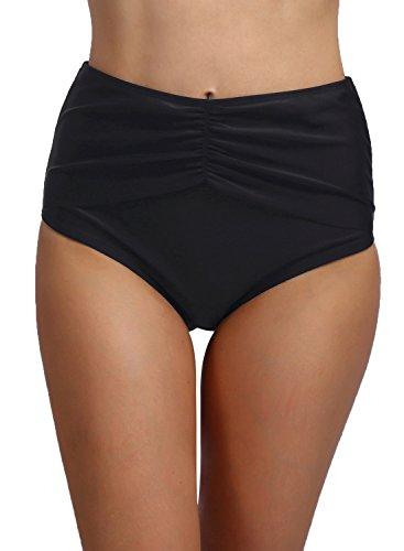 - FanShou Women High Waisted Ruched Bikini Tankini Bottom Shirred Swim Brief (Large, Black)