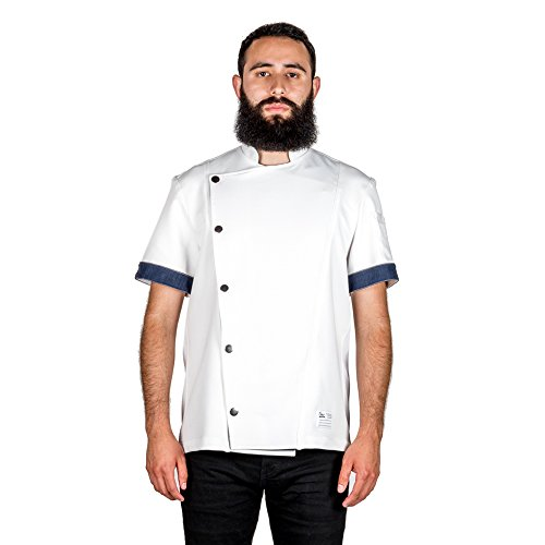 Crew Apparel Men's Chef Coat The Hipster Made in America ... (Large, White)