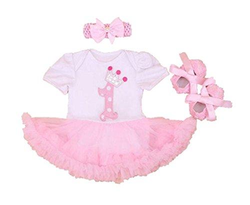 Rush Dance Infant Baby Girl 1st First Birthday Celebration Tutu Romper Dress Set (Romper & Headband & Shoes, White & Pink Tutu) - Girls Robin Tutu Dress Up Set