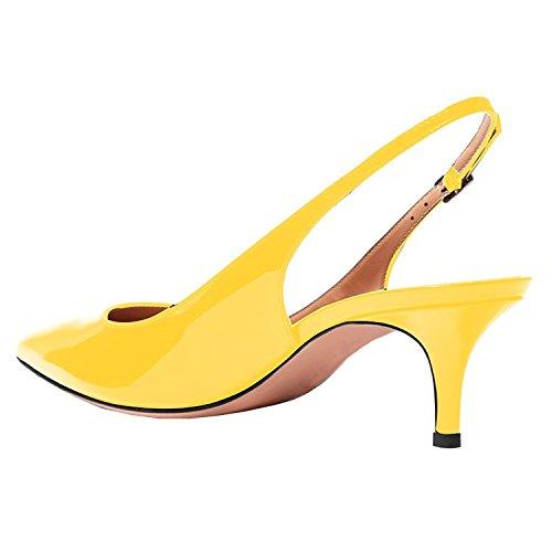 Lovirs Femmes Bride Arrière Cheville Sandales Stiletto Mi-talon Pointu Toe Pompes Chaussures Pour Robe De Soirée Jaune