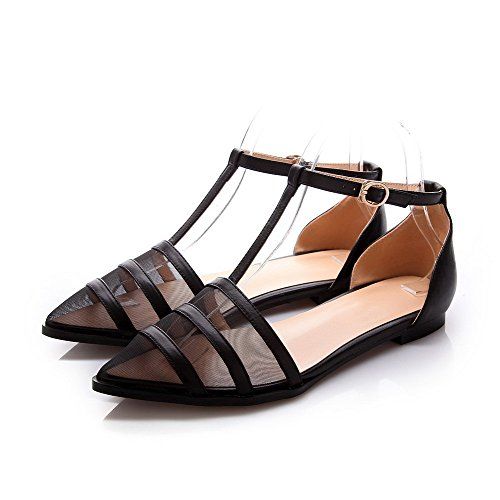 AmoonyFashion Pumps Black Heel Closed Toe Buckle Soft Shoes Solid Pointed No Womens Material rTBvUqr