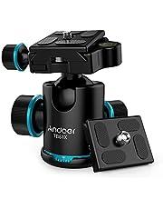Andoer TB81X kogelkop statiefkop 360 graden panorama kogelkop voor statief monopod Slider DSLR-camera (3 stuks schroefadapter en 2 stuks plaat)