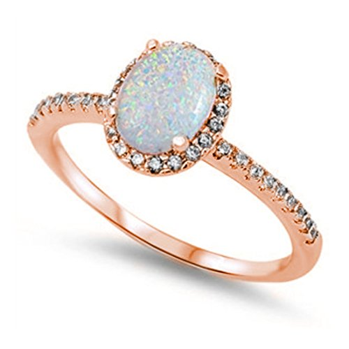 Lab Blue Ring Opal (Halo Fashion Ring Oval Lab White Opal Simulated Round CZ Accent 925 Sterling , Size-12)