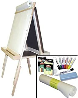 """product image for """"Beka Adjustable Double-Sided Easel-and-Supplies Combo #2, Marker Board and Chalkboard Surfaces, Top Paper Holder, Wood Trays"""""""
