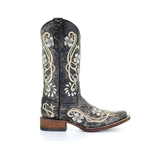 Corral Circle G Boot Womens 12-inch Distressed Floral Embroidery Square Toe Black/Multicolor Western Boot
