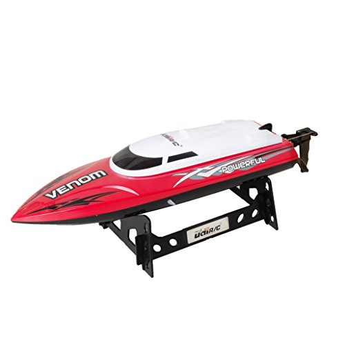 UDI001 Venom Remote Control Boat for Pools, Lakes and Outdoor Adventure - 2.4GHz High Speed Electric RC Boat- includes BONUS BATTERY Doubles Racing Time - Exclusive Red Color