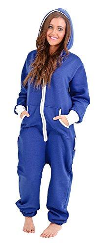 Juicy Trendz Ladies Women's Onesie Hoodie Jumpsuit All In One Piece Blue Large