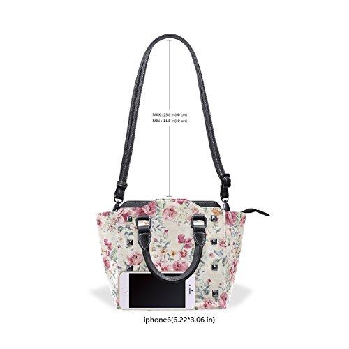 TIZORAX Flower Bags Vintage Handbags Tote Floral Women's Leather Custom Shoulder 1w1raCq