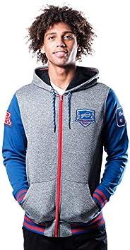 Ultra Game NFL Buffalo Bills Mens Full Zip Soft Fleece Hoodie Letterman Varsity Jacket, Team Color, Small