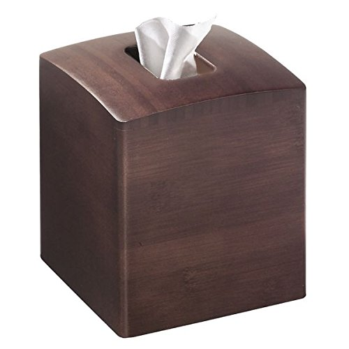 mDesign Square Bamboo Wood Facial Tissues Box Cover Holder for Bathroom Vanity Counter Tops, Bedroom Dressers, Night Stands, Desks and Tables - Espresso (Tissue Wooden Box Cover)
