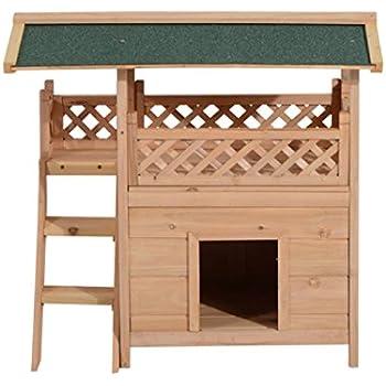 Amazon.com : Pawhut 2-Story Indoor/Outdoor Wood Cat House Shelter ...