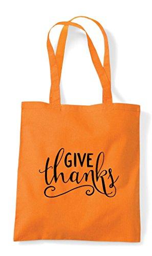 Give Orange Bag Shopper Tote Thanks Statement UqOwUH1A