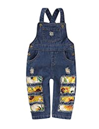 SUNICOL Baby Boys Girls Denim Overall with Big Bibs Adjustable Straps Jumpsuit Ripped Jeans Toddler