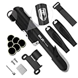 Mini Bike Pump with Gauge, OKZEST 120PSI Bicycle Pump Glueless Patch Kit, Tire Levers, Ball Pump Needle, Bicycle Tire Pump Puncture Repair Kit for Road, Mountain and BMX Bikes Fits Presta & Schrader Valve