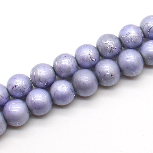 Lavender Round Beads (Drawbench Pearlescent Glass Beads, 8mm Round, 16
