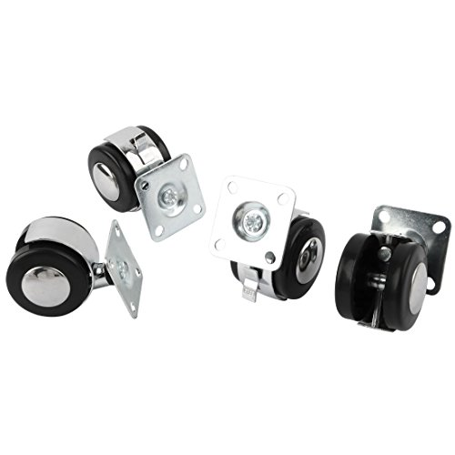 uxcell Plastic Home Office Furniture Sofa Desks Chairs Wheel Swivel Caster 4pcs Black Silver Tone by uxcell