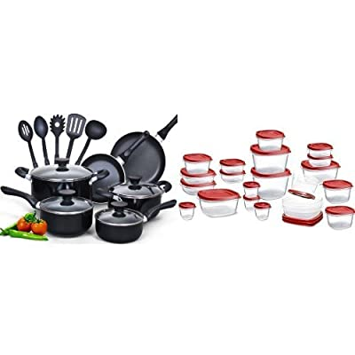 Cook N Home 15 Piece Non stick Black Soft handle Cookware Set and Rubbermaid Easy Find Lids Food Storage Container, 42-piece Set, Red (1880801) Bundle
