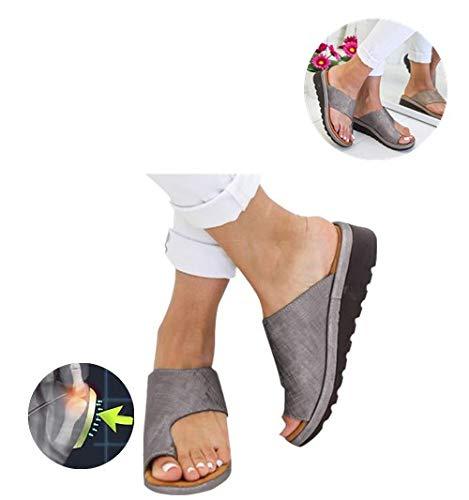 2019 New Women Comfy Platform Sandal Shoes Comfortable Ladies Sandal Shoes Summer Beach Travel Shoes Fashion Sandals Shoes casual Sandals Orthopedic Premium Toe Corrector Sandals (6, Gray)