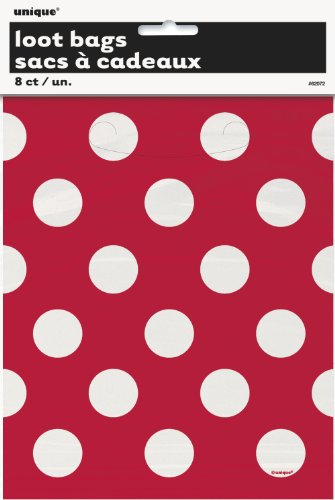 Red Polka Dot Favor Bags, 8ct (White Loot Bags)