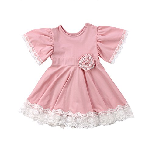 Cute Vintage Princess Kids Baby Girl Dress Lace Floral Party Dress Casual Solid Dresses (Pink, 4-5Years)