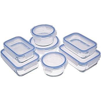 AmazonBasics Glass Locking Lids Food Storage Containers, 14-Piece Set