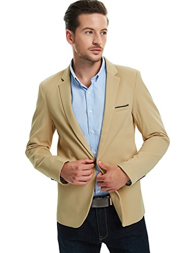 Khaki Sport Coat - Pishon Men's Slim Fit Suits Casual One Button Flap Pockets Solid Blazer Jacket, Khaki, Tagsize3XL=USsizeM