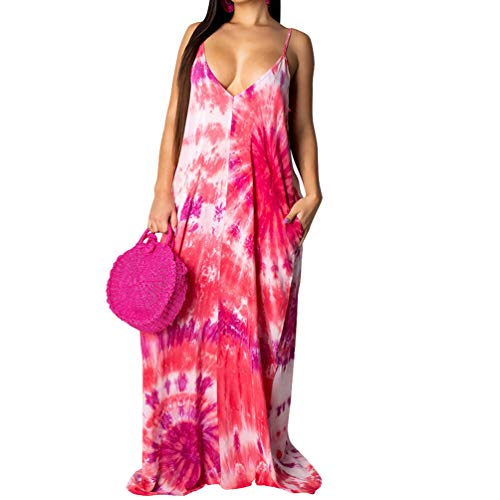 (Womens Spaghetti Strap Dress Summer - Casual Loose Floral Beach Cover Up Plus Size Long Maxi Dresses with Pocket Pink Medium)