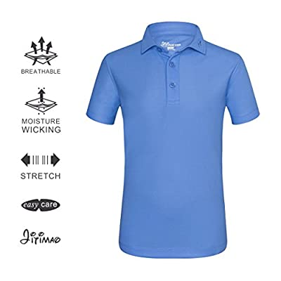 JITIMAO Junior Boys Golf Short Sleeve Match Play Casual Tech Polo Shirt Slim Fit