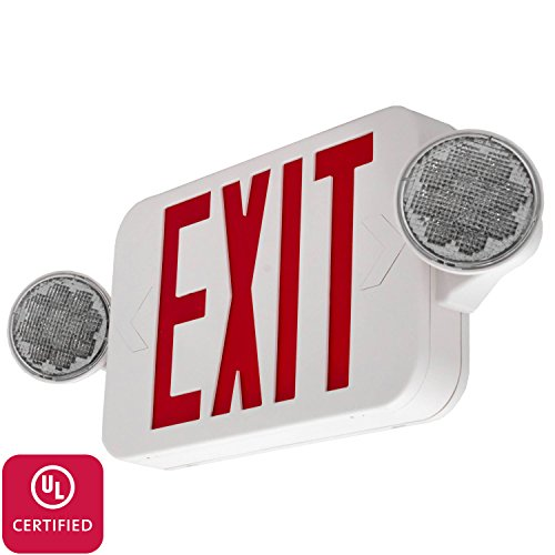 Ul924 Exit Signs (LFI Lights - UL Certified - Hardwired Red Compact Combo Exit Sign Emergency Egress Light - High Output - COMBORJR2)