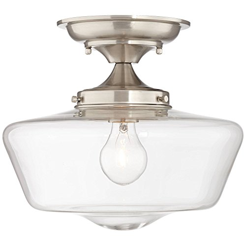 Schoolhouse Floating Ceiling Light Semi Flush Mount Fixture Brushed Nickel 12 Wide Clear Glass for Bedroom Kitchen Living Room Hallway Bathroom – Regency Hill