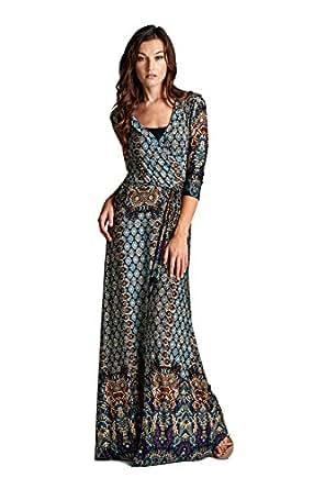 On Trend Women's Paris Bohemian 3/4 Sleeve Long Maxi Dress (Small, Teal)