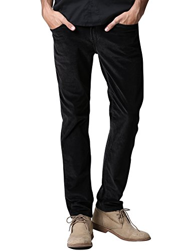 Match Men's Slim-Tapered Flat-Front Casual Pants (36W x 31L, 8052 Black)